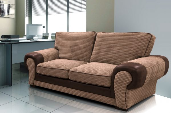 Taylor 3 Seater Brown Fabric Sofa