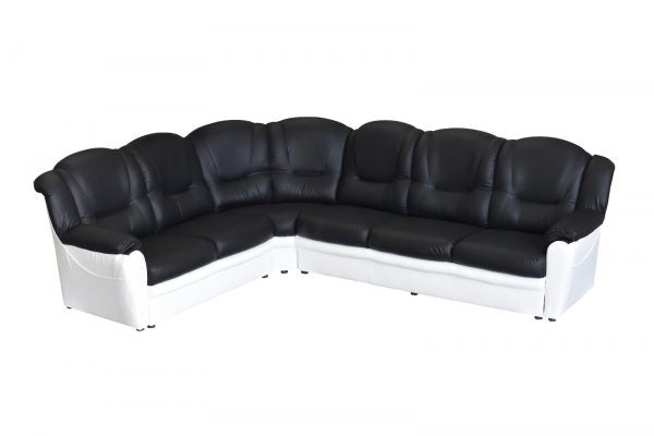 Black and White Faux Leather Corner Sofa
