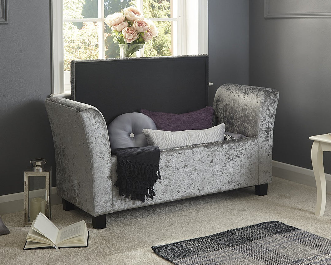 silver crushed velvet window seat