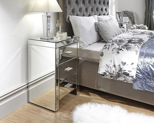 Venta 3 Drawer Mirrored Bedside