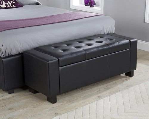 Black Leather Ottoman bedding box