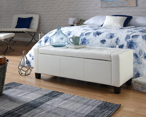 white leather ottoman bedding box