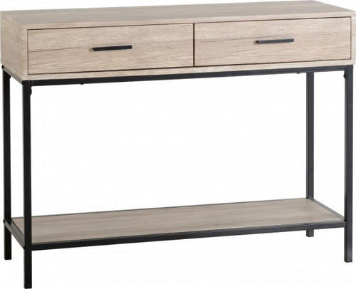 oak and black console table