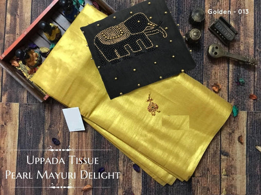 Pure Tissue SILK SAREE (013Golden_Black_E)