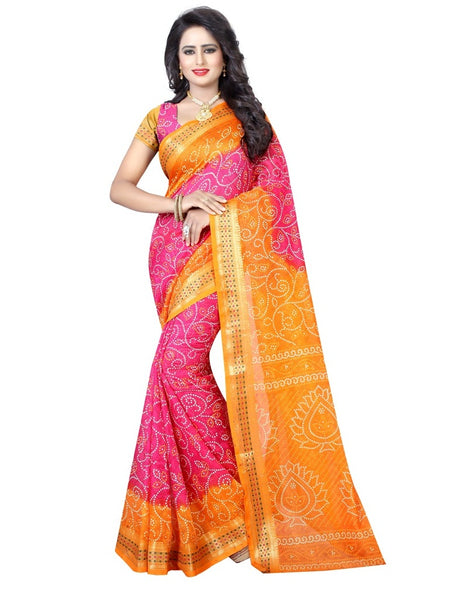 Printed Art Silk Bandhani Saree in Pink-Orange Color