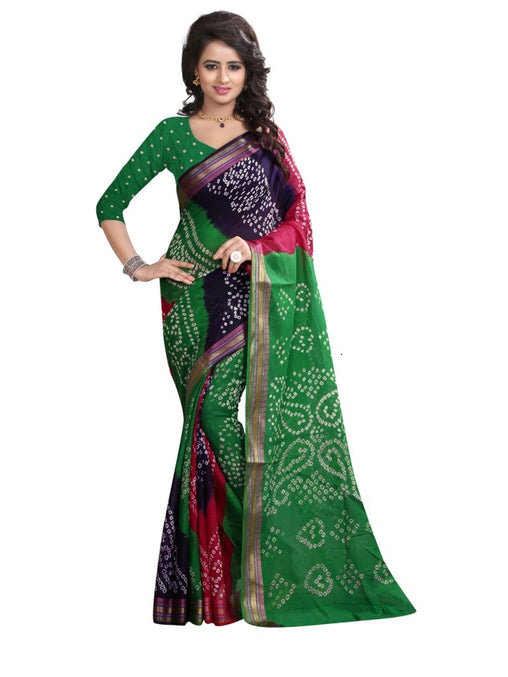 multi cotton handicraft bandhani Saree(green)