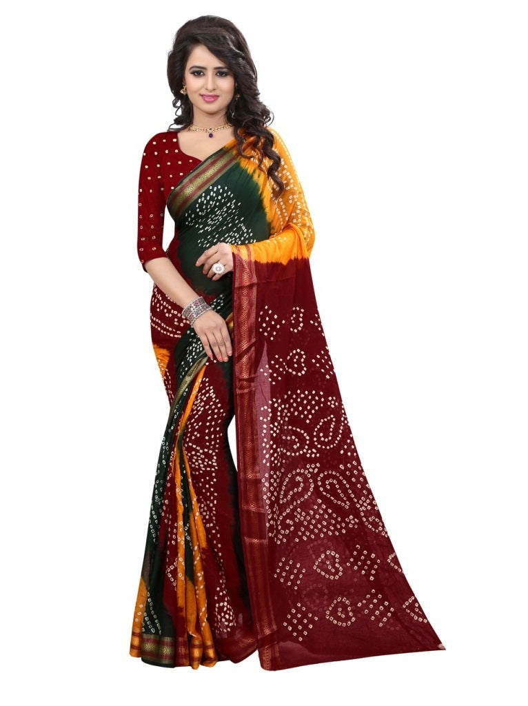 multi cotton handicraft bandhani Saree(Maroon)