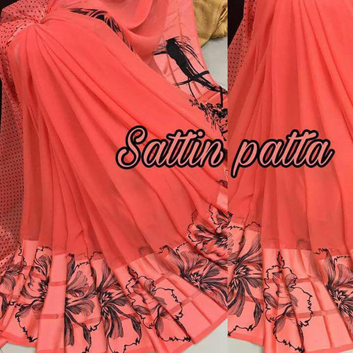Satin patta Saree with Blouse Piece (Pink2)