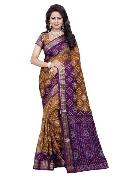 Printed Art Silk Bandhani Saree in Brown-Purple