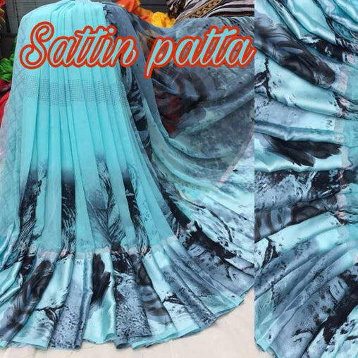 Satin patta Saree with Blouse Piece (SkyBlue2)