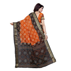 Handicrafted Art Silk Bandhani Saree in Orange-Black