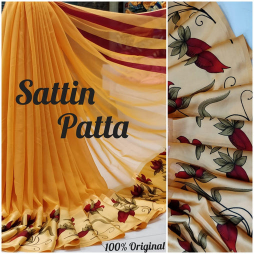 Satin patta Saree with Blouse Piece (Yellow)