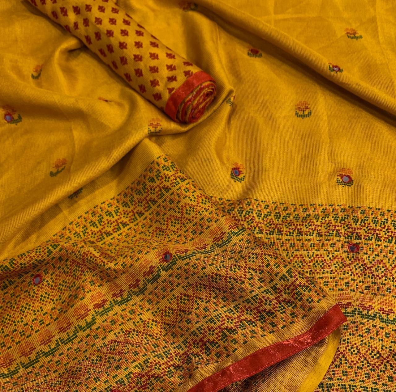 New Fashionable Mirror Printed SAREE (Yellow)