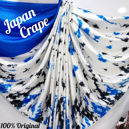 japan crepe multi-color Saree (Blue,white,Black)