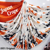 japan crepe multicolor Saree (Orange,white,Black)