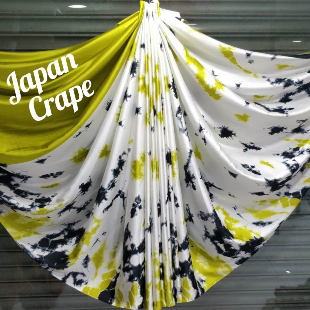 japan crepe multicolor Saree (lightGreen,White)