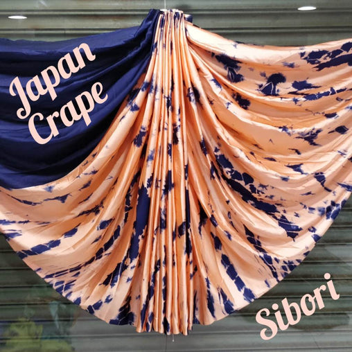 japan crepe multicolor Saree(darkblue,Pink,Black)