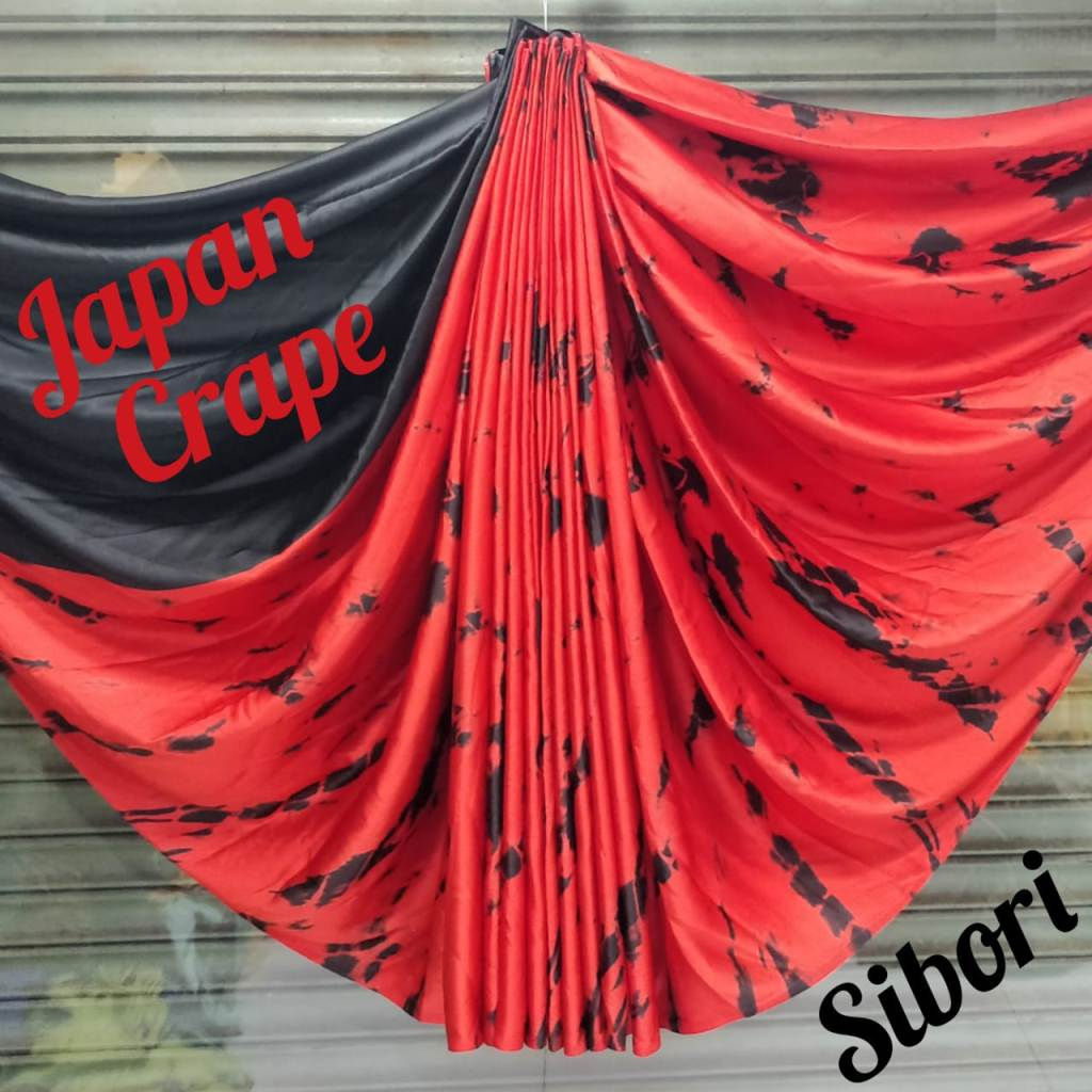 japan crepe multicolor Saree(Full_Red,black)