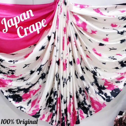 japan crepe multicolor Saree(Pink)