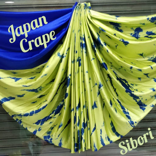 japan crepe multicolor Saree(Full_parrot green,Blue)