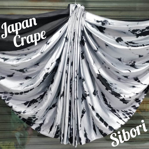 japan crepe multicolor Saree(Full_Grey,black)
