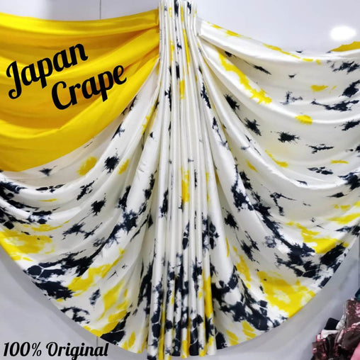 japan crepe multicolor Saree(yellow,white,Black)