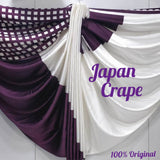 japan crape  saree(White_Maroon)