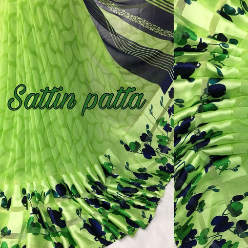 Satin patta Saree with Blouse Piece (Green)
