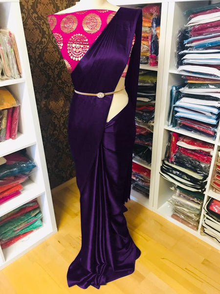 Pure Satin Silk and Saree with Pink  Blouse (Magenta pink)