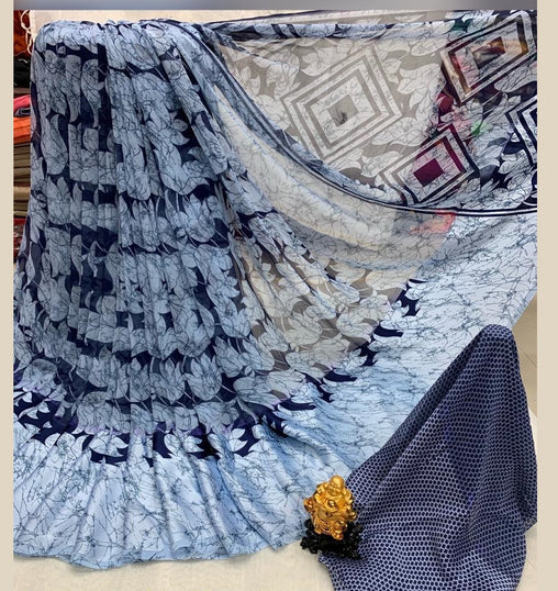 Satin patta Saree with Blouse Piece (SkyBlue_Black)