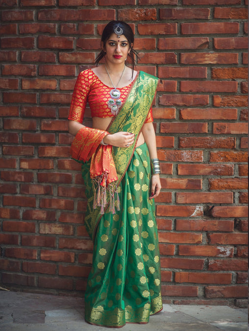 New Pure Patola Silk Saree(906-Greenred)