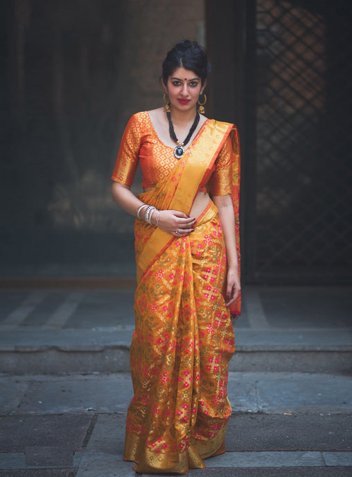 New Pure Patola Silk Saree(908-Yellow)