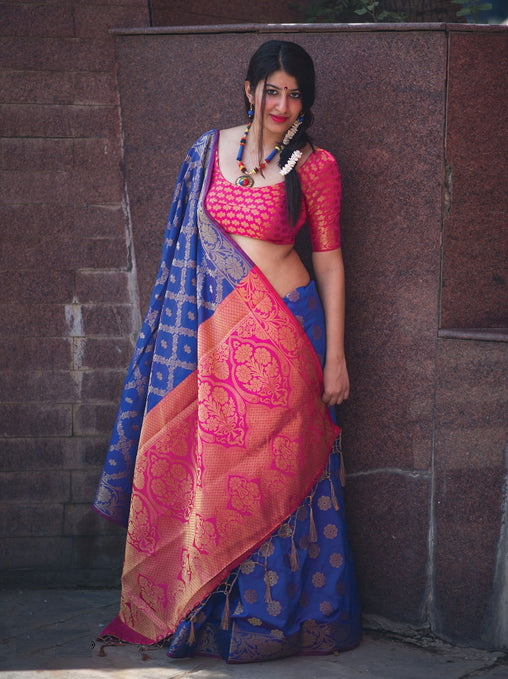 New Pure Patola Silk Saree(909-BluePink)