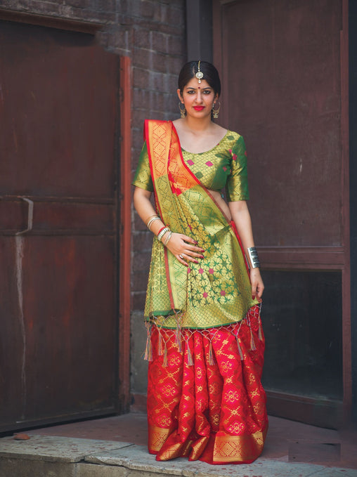 New Pure Patola Silk Saree(910-RedGreen)