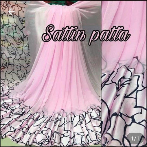 Satin patta Saree with Blouse Piece (Light_Pink)