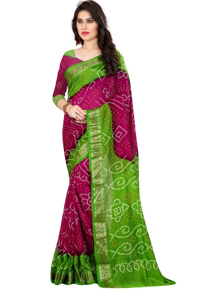 Printed Silk Bandhani in Pink-Green Color