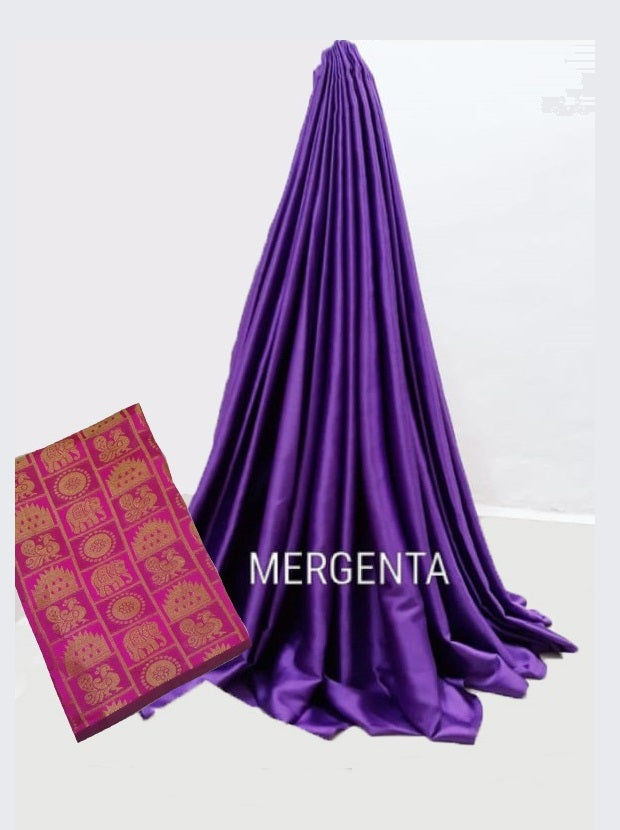 PARTY WEAR PURE SATIN SILK SAREE WITH BLOUSE (Magenta)