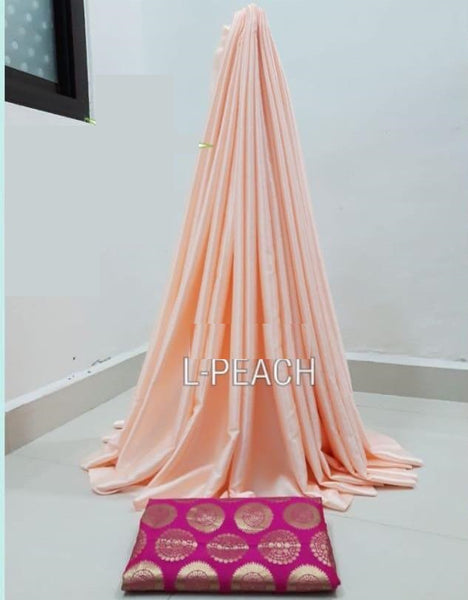 PARTY WEAR PURE SATIN SILK SAREE WITH BLOUSE (Peach)