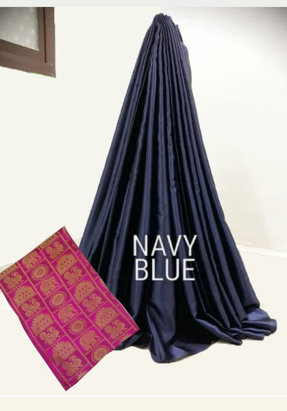 PARTY WEAR PURE SATIN SILK SAREE WITH BLOUSE (Navy Blue)