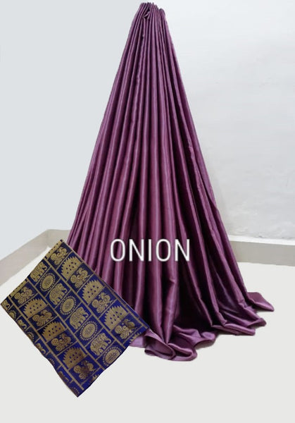 PARTY WEAR PURE SATIN SILK SAREE WITH BLOUSE (onion)