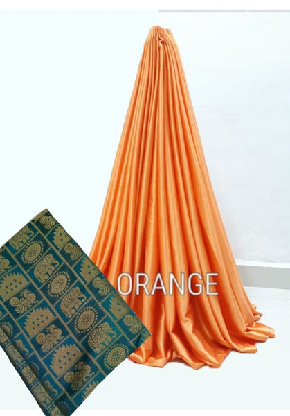 PARTY WEAR PURE SATIN SILK SAREE WITH BLOUSE (Orange)