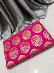 PARTY WEAR PURE SATIN SILK SAREE WITH BLOUSE (GREY & Pink)