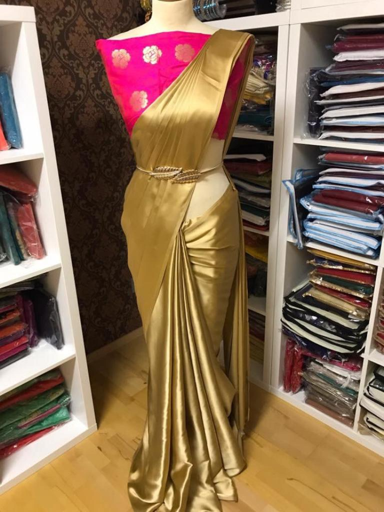 Pure Satin Silk Saree with Pink  Blouse