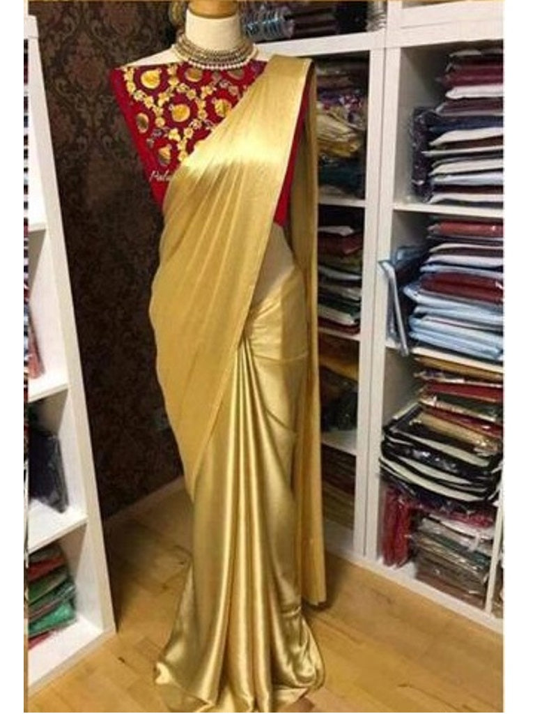 Pure Satin Silk and Saree with Red Blouse Piece