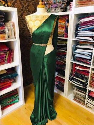 Pure Satin Silk and Saree with  Blouse Piece