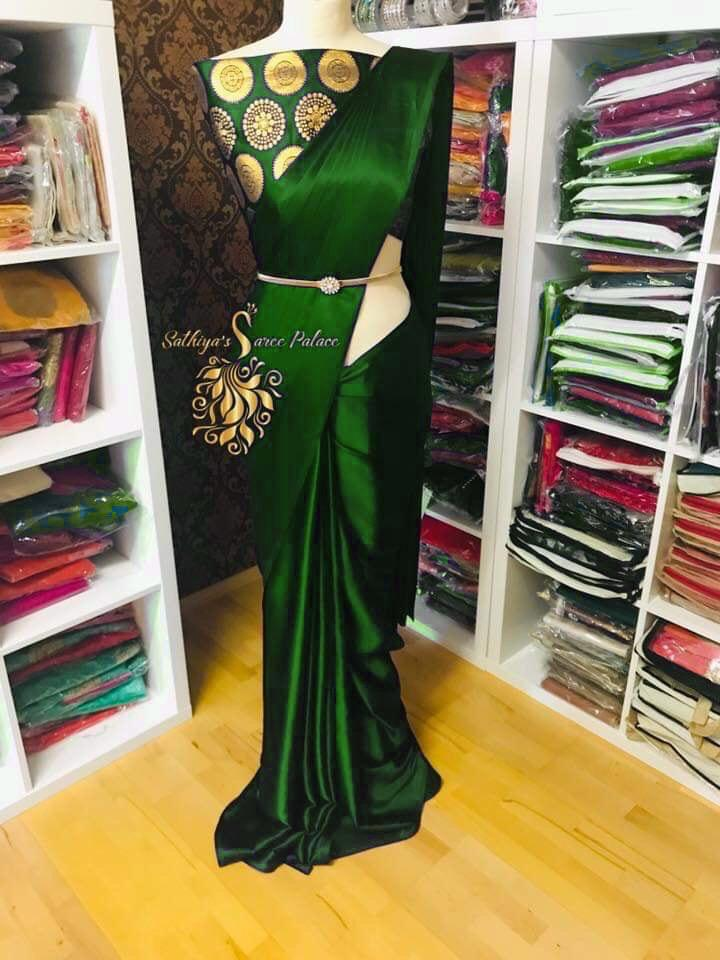 PURE SATIN SILK AND SAREE WITH BLACK BLOUSE (Green new)