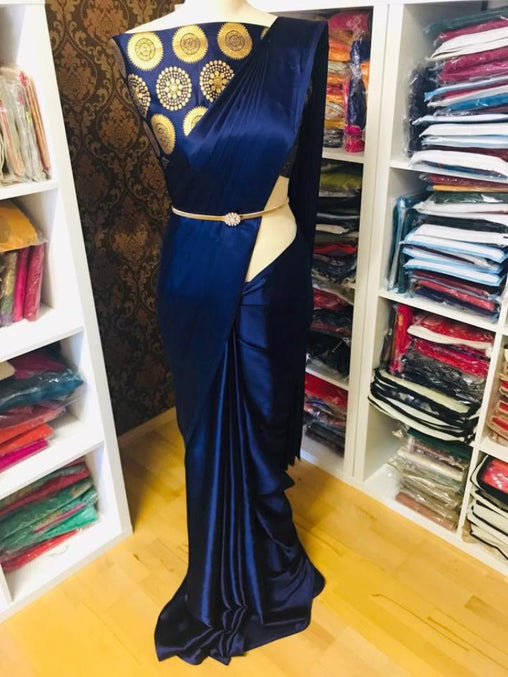 Pure Satin Silk Saree with Blouse ( Dark Blue)