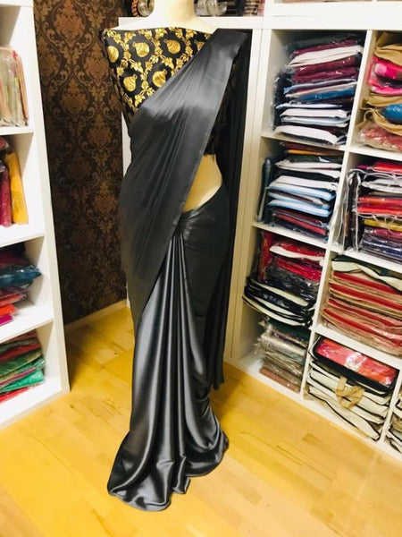 Pure Satin Silk Saree with Blouse(Gray)