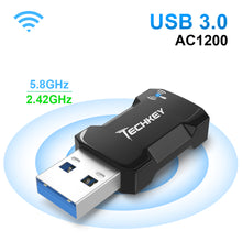 Load image into Gallery viewer, USB WiFi Adapter 1200Mbps for PC, Techkey Mini Wireless Network Adapter USB 3.0 WiFi Dongle 802.11 ac with Dual Band 2.42GHz/300Mbps, 5.8GHz/866Mbps for Desktop Laptop Windows XP/7/8/8.1/10/ Mac OS