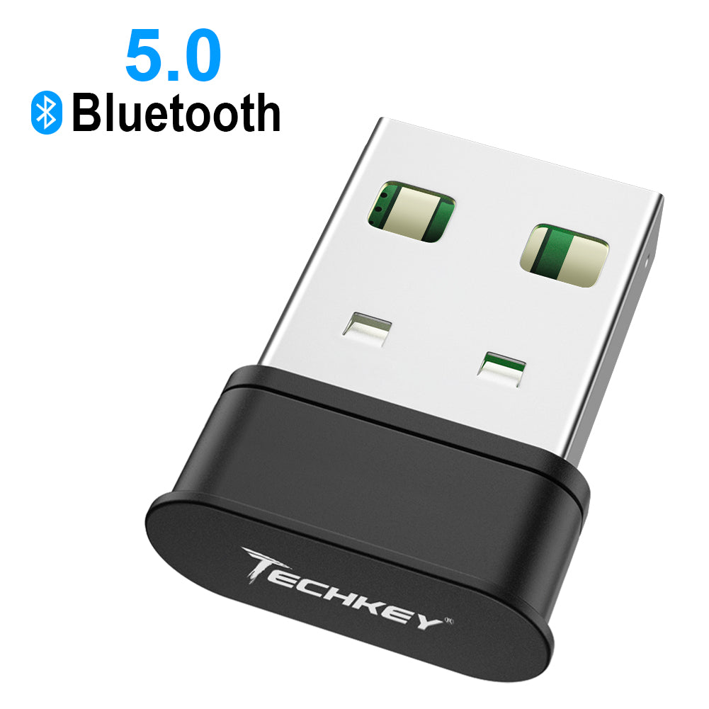 Bluetooth Adapter for PC,Techkey USB Mini Bluetooth 5.0 EDR Dongle for Computer Desktop Wireless Transfer for Laptop Bluetooth Headphones Headset Speakers Keyboard Mouse Printer Windows 10/8.1/8/7